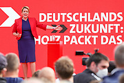 SPD candidate for the position of Berlin's Governing Mayor Franziska Giffey delivers a speech, during an election campaign event of the German Social Democratic Party (SPD) at Bebelplatz square In Berlin, Germany, August 27, 2021. Germany's federal elections are due to take place on September 26, 2021.