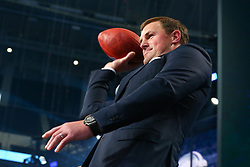 April 26, 2018 - Arlington, TX, U.S. - ARLINGTON, TX - APRIL 26:  Dallas Cowboy Jason Witten throws a football into the crowd prior to the first round of the 2018 NFL Draft at AT&T Statium on April 26, 2018 at AT&T Stadium in Arlington Texas.  (Photo by Rich Graessle/Icon Sportswire) (Credit Image: © Rich Graessle/Icon SMI via ZUMA Press)