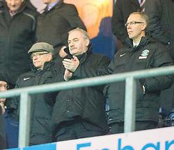 Hibs directors at he end.<br /> Falkirk 1 v 0 Hibernian, Scottish Championship game played 6/12/2014 at The Falkirk Stadium .