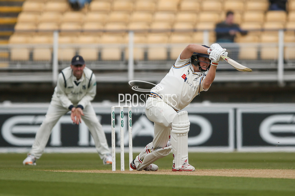 Fine shot from Yorkshire Gary Ballance  during the Specsavers County Champ Div 1 match between Warwickshire County Cricket Club and Yorkshire County Cricket Club at Edgbaston, Birmingham, United Kingdom on 24 April 2016. Photo by Simon Davies.
