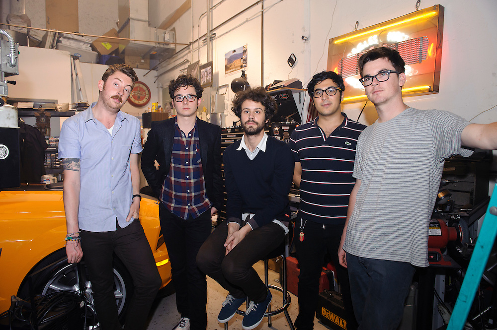 Portrait of Boston, Massachusetts electronica band Passion Pit photographed backstage at Classic Car Club, NYC. May 14, 2010. Ayad Al Adhamy, Michael Angelakos, Jeff Apruzzese, Nate Donmoyer, and Ian Hultquist. Copyright © 2010 Matt Eisman. All Rights Reserved.