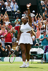 © Licensed to London News Pictures. 08/07/2019. London, UK. Serena Williams of the United Stated of America wins against Carla Suarez Navarro of Spain in the forth round of the ladies singles draw of the Wimbledon Tennis Championships 2019 on Day 7 held at the All England Lawn Tennis and Croquet Club. Photo credit: Ray Tang/LNP
