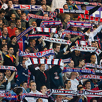 19 May 2007: Supporters of the french soccer team Paris Saint-Germain (PSG) Football Club hold banners in the Boulogne stands prior to the Ligue 1 football game against Troyes at the Parc des Princes stadium, in Paris, France.