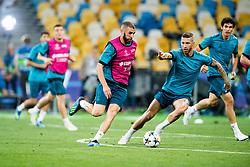 May 25, 2018 - Kyiv, UKRAINE - 180525 Karim Benzema and Sergio Ramos of Real Madrid during a training session on May 25, 2018 in Kyiv..Photo: Vegard Wivestad Grøtt / BILDBYRÃ…N / kod VG / 170177 (Credit Image: © Vegard Wivestad GrØTt/Bildbyran via ZUMA Press)