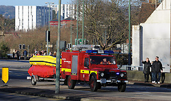 © Licensed to London News Pictures. 26/12/2013<br /> Kent fire and rescue boat on a 999 Maidstone Town Centre.<br /> Maidstone Town Centre,Maidstone,Kent is flooded due to the <br />  river Medway Bursting its banks.<br /> Boxing day flooding in Kent.<br /> Large parts of Kent are still flooded due to heavy rain with more bad weather expected.<br /> Photo credit :Grant Falvey/LNP