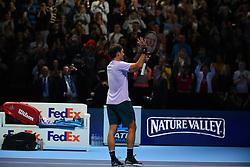 November 12, 2017 - London, United Kingdom - Roger Federer of Switzerland celebrates his straight sets victory against Jack Sock of the United States during the Nitto ATP World Tour Finals at O2 Arena, London on November 12, 2017. (Credit Image: © Alberto Pezzali/NurPhoto via ZUMA Press)