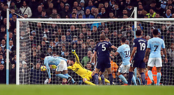 Manchester City's Ilkay Gundogan scores his side's first goal of the game during the Premier League match at the Etihad Stadium, Manchester.