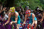 London, UK. Tuesday 7th August 2012. Men's Triathlon held in Hyde Park. Competing athletes from Australia and Belgium take part in the cycle section of the race.