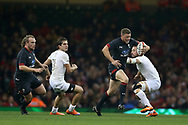 Rhys Priestland of Wales makes a break. Under Armour 2017 series Autumn international rugby, Wales v Georgia at the Principality Stadium in Cardiff , South Wales on Saturday 18th November 2017. pic by Andrew Orchard, Andrew Orchard sports photography