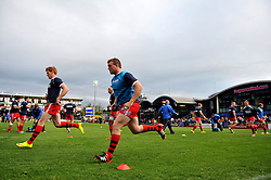 The Bristol Rugby team in action during the pre-match warm-up - Photo mandatory by-line: Patrick Khachfe/JMP - Mobile: 07966 386802 27/05/2015 - SPORT - RUGBY UNION - Worcester - Sixways Stadium - Worcester Warriors v Bristol Rugby - Greene King IPA Championship Play-off Final (Second leg)