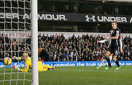 Tottenham's Roberto Soldado scoring his sides second goal<br /> <br /> Barclays Premier League- Tottenham Hotspur vs Everton - White Hart Lane - England - 30th November 2014 - Picture David Klein/Sportimage