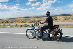 Frankfurt, Germany Harley-Davidson dealer Thomas Trapp, riding his 1916 Harley-Davidson F during stage 12 (299 m) of the Motorcycle Cannonball Cross-Country Endurance Run, which on this day ran from Springville, UT to Elko, NV, USA. Wednesday, September 17, 2014.  Photography ©2014 Michael Lichter.