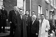 08/02/1963<br /> 02/08/1963<br /> 08 February 1963<br /> Deputation to the Department of Fisheries. Southern Fishermen who were among the attendance at the Department of Fisheries, Dublin to discuss with officials the extension of the Irish fishing limits to 12 miles pictured arriving for the meeting. (l-r?): Mr. Dan Griffin, (Cork); Mr. Michael Doran (Wexford); Mr. Joseph Scallan (Kilmore); Mr. Stephen White (Dunmore); Mr. L. Lett (Wexford) and Mr. Ronan Mallen (Arklow and Dun Laoghaire).