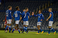 Portsmouth Players Celebrate after Portsmouth Midfielder, Stuart OKeefe (7) scores a goal 3-1 during the EFL Trophy match between Portsmouth and Crawley Town at Fratton Park, Portsmouth, England on 3 October 2017. Photo by Adam Rivers.