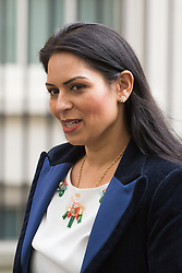 Downing Street, London, April 12th 2016. Employment Minister Priti Patel leaves the weekly cabinet meeting. <br /> ©Paul Davey<br /> FOR LICENCING CONTACT: Paul Davey +44 (0) 7966 016 296 paul@pauldaveycreative.co.uk