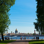 Neva River, Palace Bridge And St Isaak's Cathedral Panorama, St.-Petersburg