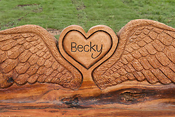 © Licensed to London News Pictures.16/02/2016. Bristol, UK.  Family and friends of Becky Watts attend the unveiling of a memorial bench to the murdered Bristol schoolgirl at Plummers Hill Open Space, just metres from Becky's home in the St George area of Bristol. The sixteen year-old was murdered by her stepbrother Nathan Matthews almost a year ago in 2015. The bench was made by sculptor Andy O'Neill who carved the bench from an oak tree trunk. Photo credit : Simon Chapman/LNP