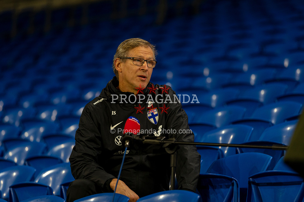 CARDIFF, WALES - Tuesday, November 17, 2020: Finland's head coach Markku Kanerva pictured during a television interview before a training session at the Cardiff City Stadium ahead of the UEFA Nations League Group Stage League B Group 4 match between Wales and Finland. (Pic by David Rawcliffe/Propaganda)