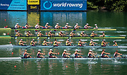 "Lucerne, SWITZERLAND, 13th July 2018, Friday,  Start of the Women's Eights,  top,  ""USA W8+,    Bow, Victoria OPITZ, Gia DOONAN, Emily REGAN, Felice MUELLER, Dana MOFFAT, Tracy EISSER, Kristine O'BRIEN, Olivia COFFEY  and cox Katelin GUREGIAN, <br /> FISA World Cup series, No.3, Lake Rotsee, © Peter SPURRIER"