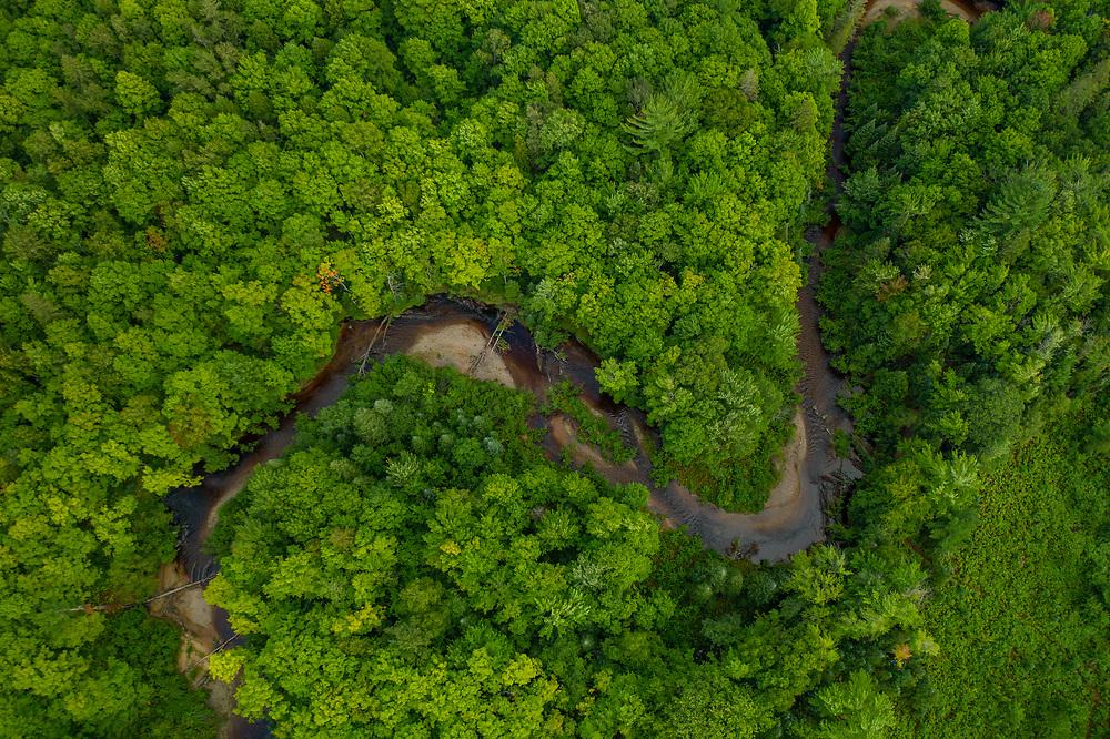 Drone view of the Yellow Dog River near Big Bay, Michigan.