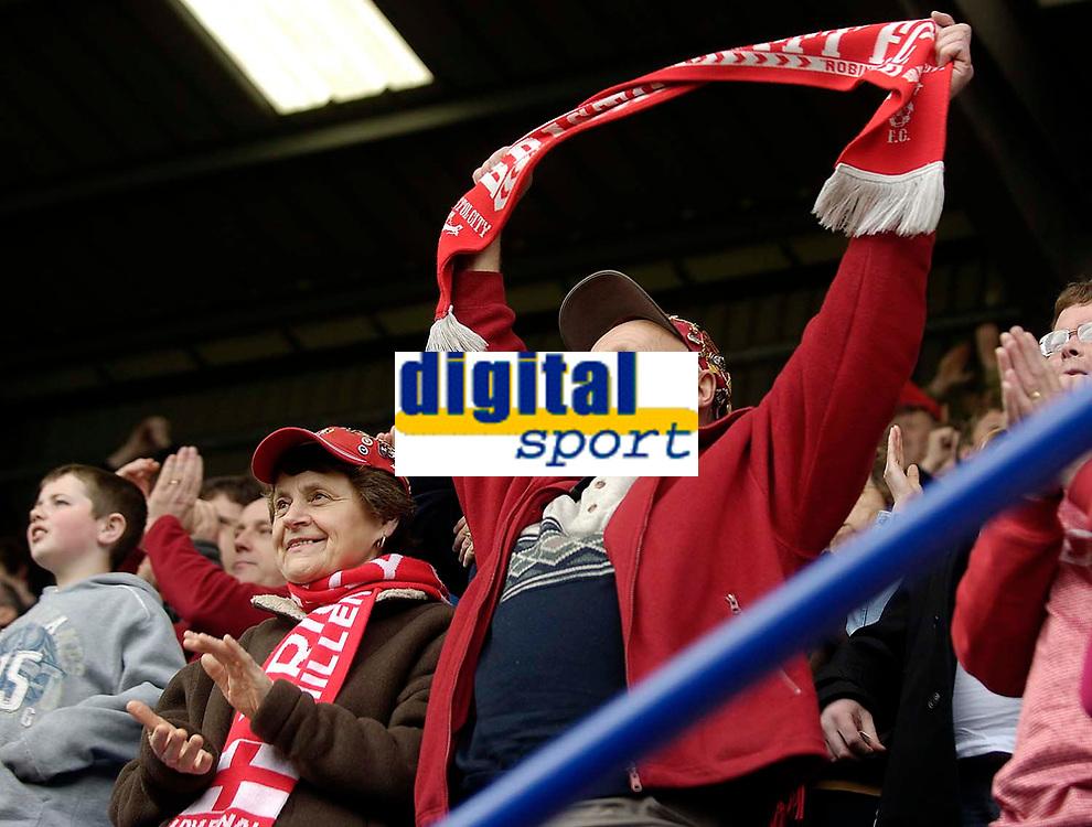 Photo: Jed Wee.<br />Tranmere Rovers v Bristol City. Coca Cola League 1. 22/04/2006.<br /><br />Bristol City fans celebrate their win.