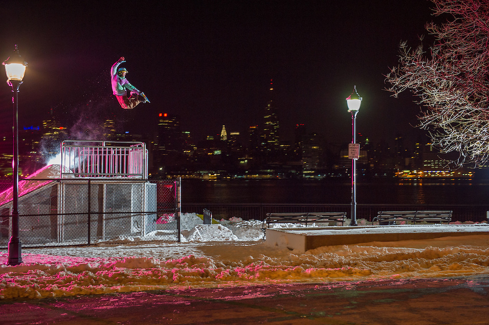 Pat Milbery shot for a story in ESPN at New Jersey Skate Park for a view of New York City in New Jersey City, New Jersey.
