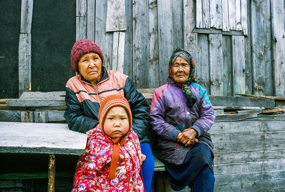 Yupik family, Village of New Chaplino, Chukostk Peninsula, Northeast Russia