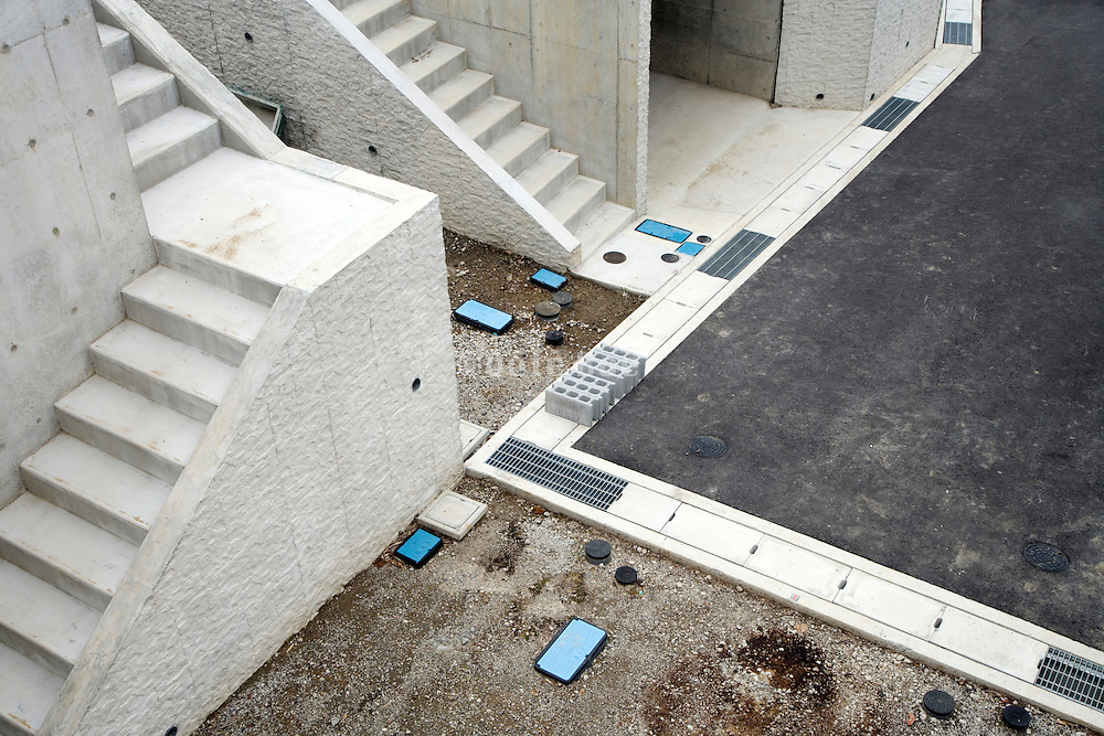 concrete stairs and road at a new residential housing development