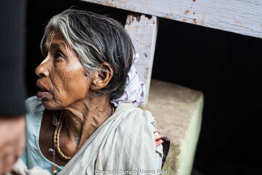 Dasi aged 70 from Kasibur, she has been living as a widow in Vrindavan for 15 years.  While I photographed her, she was loudly reproached by a male passer by for talking to a foreigner.
