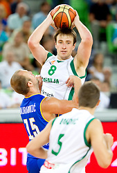 Kenan Bajramovic of BiH vs Matjaz Smodis of Slovenia during friendly basketball match between National teams of Slovenia and Bosnia and Hercegovina for third place at Adecco Ex-Yu Cup 2011 as part of exhibition games before European Championship Lithuania 2011, on August 9, 2011, in Arena Stozice, Ljubljana, Slovenia. Slovenia defeated BiH 59-52. (Photo by Vid Ponikvar / Sportida)