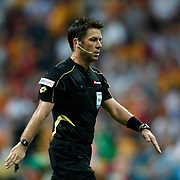 Referee's Firat Aydinus during their Turkish Super League soccer match Galatasaray between Kasimpasa at the TT Arena at Seyrantepe in Istanbul Turkey on Monday 20 August 2012. Photo by TURKPIX
