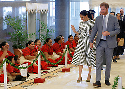 The Duke and Duchess of Sussex arrive for a meeting with Tongan prime minister Akilisi Pohiva and his cabinet on the second day of the royal couple's visit to Tonga.