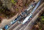The site of an early morning train crash between an Amtrak train, bottom right, and a CSX freight train, top left, in Cayce, SC. At least two people were killed and at least 70 people were injured. The crash occurred near Charleston Highway and Pine Ridge Road around 2:35 a.m. Sunday. AP Photo/Jeff Blake