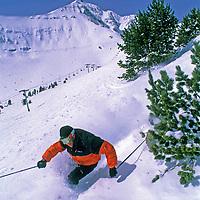 SKIING, Big Sky, MT. Patrick Shanahan (MR) skis glade below Triple Chair. Lone Mt. bkg.