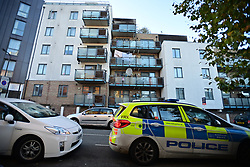 © Licensed to London News Pictures. 04/11/2020. London, UK.  emergency services at the scene at a residential address in Harlesden, North West London, where a man has died following a fire. Photo credit: Ben Cawthra/LNP