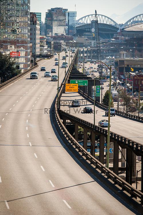 2018 FEBRUARY 12 - Alaskan Way Viaduct on a sunny day in Seattle, WA, USA. By Richard Walker