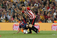 Barcelona´s Sergio Busquets and Athletic de Bilbao´s Aritz Aduriz during 2014-15 Copa del Rey final match between Barcelona and Athletic de Bilbao at Camp Nou stadium in Barcelona, Spain. May 30, 2015. (ALTERPHOTOS/Victor Blanco)
