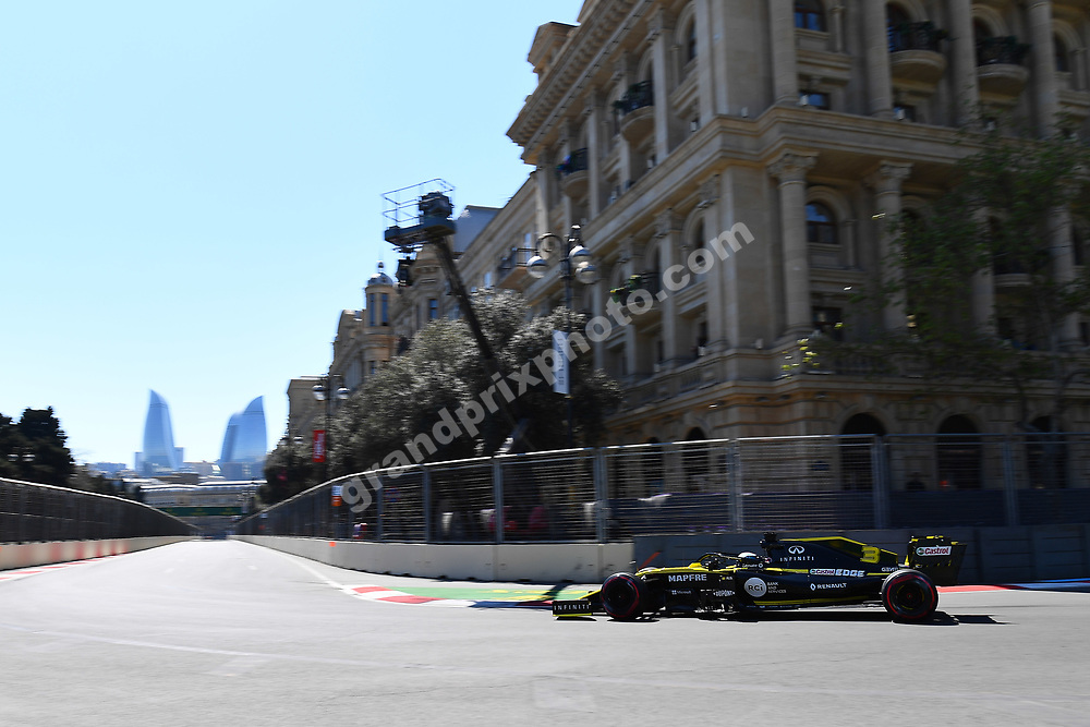 Daniel Ricciardo (Renault) during practice for the 2019 Azerbaijan Grand Prix in Baku. Photo: Grand Prix Photo