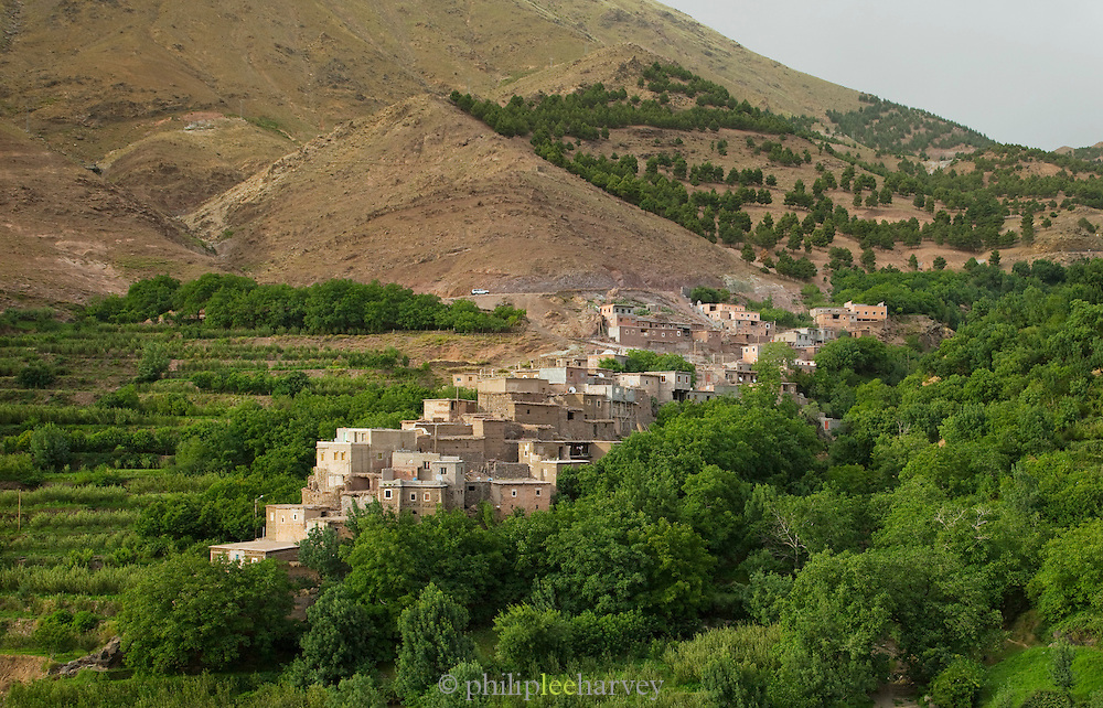 The village of Imlil in the Imlli Valley at Toubkal National Park in Morocco