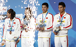 BUDAPEST, July 27, 2017  China's Zhu Menghui, Zhang Yufei, Yan Zibei and Xu Jiayu (L to R)  attend the awarding ceremony for the Mixed 4x100m Medley Relay event at the 17th FINA World Championships in Budapest, Hungary on July 26, 2017. Team China won the bronze medal with 3:41.25. (Credit Image: © Ding Xu/Xinhua via ZUMA Wire)