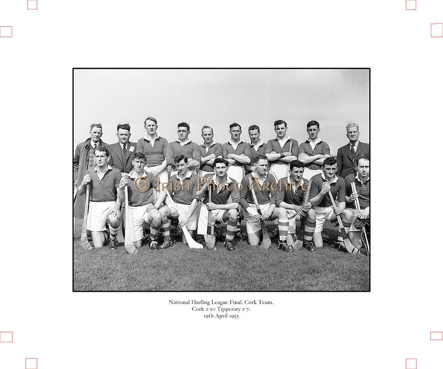 179/2528-2533.Senior Hurling Cork Team.National Hurling League Final.19 April 1953.Cork 2-10  Tipperary 2-7.