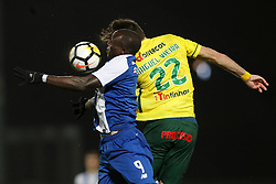 March 11, 2018 - Pacos Ferreira, Pacos Ferreira, Portugal - Porto's Cameroonian forward Vincent Aboubakar (L) vies with Pacos Ferreira's Portuguese defender Miguel Vieira (R) during the Premier League 2017/18 match between Pacos Ferreira and FC Porto, at Mata Real Stadium in Pacos de Ferreira on March 11, 2018. (Credit Image: © Dpi/NurPhoto via ZUMA Press)