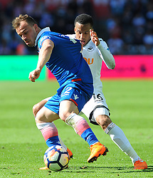 Martin Olsson of Swansea City competes with Xherdan Shaqiri of Stoke City-Mandatory by-line: Nizaam Jones/JMP- 13/05/2018 - FOOTBALL - Liberty Stadium - Swansea, Wales - Swansea City v Stoke City - Premier League