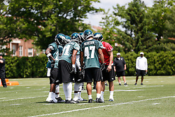 Philadelphia Eagles in a huddle during the NFL football rookie camp at the teams practice facility on Saturday, May 17, 2014. (Photo by Brian Garfinkel)