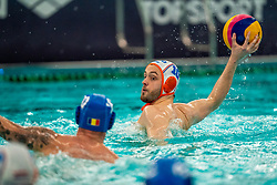 Pascal Janssen of the Netherlands in action against Romania during the Olympic qualifying tournament. The Dutch water polo players are on the hunt for a starting ticket for the Olympic Games on February 16, 2021 in Rotterdam