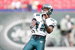 Philadelphia Eagles wide receiver Jeremy Maclin #18 warms up before the NFL game between the Philadelphia Eagles and the New York Jets on September 3rd 2009. The Jets won 38-27 at Giants Stadium in East Rutherford, NJ.  (Photo By Brian Garfinkel)