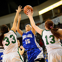 031314  Adron Gardner/Independent<br /> <br /> Laguna Acoma Hawk Lacey Natseway (15) fires a shot under pressure from the Texico Wolverines  during the state high school basketball tournament at the Santa Ana Star Center in Rio Rancho Thursday.