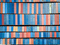 Aerial view of muliticoloured shipping containers in Le Port, Reunion island.