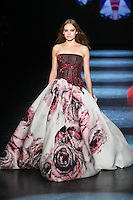 Shanna Jackway walks the runway wearing Monique Lhuillier Fall 2016 during New York Fashion Week on February 13, 2016