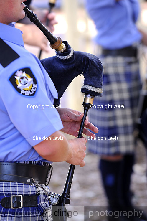 Piper and bagpipes, Western Australian Police Band. 2009 Guildford Heritage Festival, Western Australia